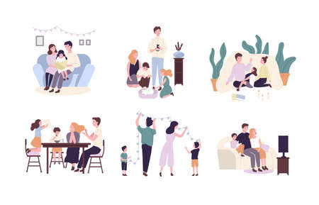 Les membres de la famille passent du temps ensemble à la maison. Mère, père et enfants lisant un livre, décorant la maison, regardant la télévision. Personnages de dessins animés mignons isolés sur fond blanc. Illustration vectorielle plane. Vecteurs
