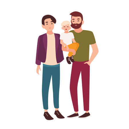 Cute gay couple standing together and holding little child. Pair of smiling men and their kid. Homosexual family. Flat cartoon characters isolated on white background. Colorful vector illustration.