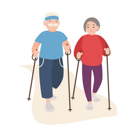 Happy old men and women dressed in sports clothing performing nordic walking. Healthy outdoor activity for elderly people. Flat cartoon characters isolated on white background. Vector illustration.
