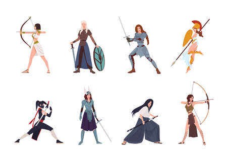 Collection of female warriors from Scandinavian, Greek, Egyptian, Asian mythology and history. Set of women wearing armor and holding weapons, isolated on white background. Cartoon vector illustration. Vettoriali
