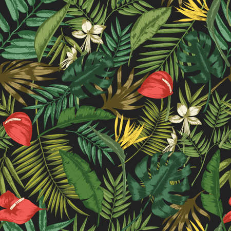 Botanical seamless pattern with foliage of exotic jungle plants on black background. 向量圖像
