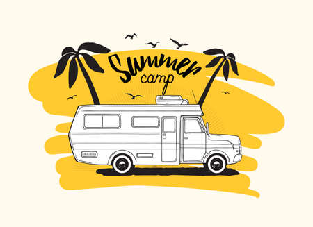 Camper trailer or campervan driving against exotic palm trees on background and Summer Camp inscription. Vehicle for tropics or jungle trip, tropical camping. Vector illustration for advertising