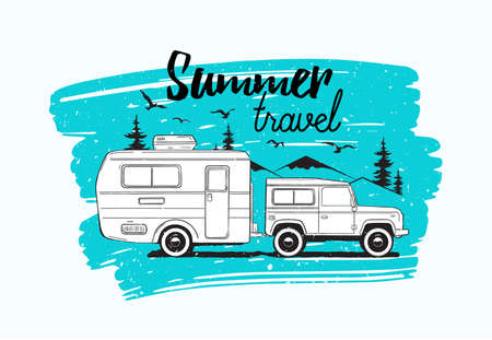 Car towing caravan trailer or camper against mountains and spruce trees on background and Summer Travel lettering. Vehicle for wild nature adventure trip or seasonal camping. Vector illustration.