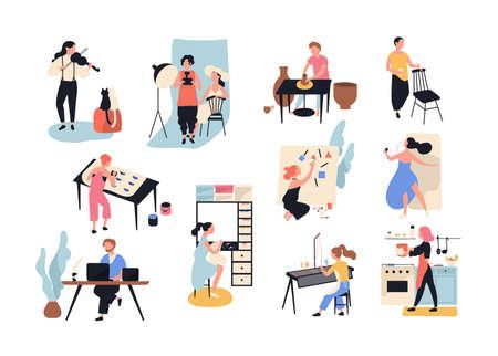 男性と女性の芸術、手工芸品、創造的な労働者や専門家のコレクション。白い背景に孤立した様々な職業の人々のセット。フラットな漫画スタイルでベクトルイラスト。