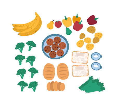 Collection of discarded food for freegans isolated on white background - fruits, vegetables, eggs, bread. Bundle of foraged or rescued edible leftovers. Flat cartoon colorful vector illustration. Foto de archivo - 99476337