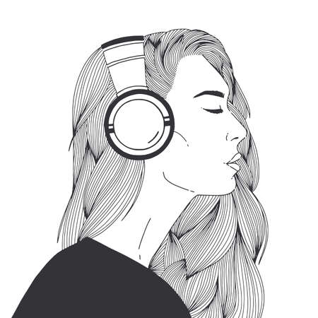 Portrait of beautiful long-haired young woman wearing headphones drawn with black contour lines on white background. Relaxed girl listening to music, side view. Monochrome vector illustration Stock Illustratie