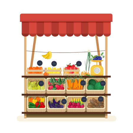 Greengrocer shop with awning, marketplace or counter with fruits, vegetables and price tags. Place for selling food products on local farmers market. Flat cartoon colorful vector illustration.