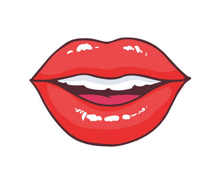 Slightly ajar mouth with bright red glossy lips isolated on white background. Pretty symbol of love, kiss, passion and desire. Glamorous romantic design element. Comics cartoon vector illustration.