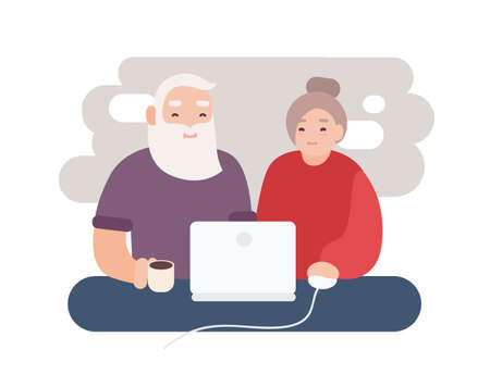 Pair of smiling elderly man and woman surfing internet together. Happy old couple watching video on laptop. Grandparents sitting at computer. Flat cartoon characters. Colorful vector illustration