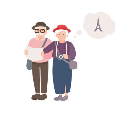 Pair of smiling elderly male and female tourists with map. Happy old couple traveling world. Grandparents on vacation in France. Cartoon characters isolated on white background. Vector illustration