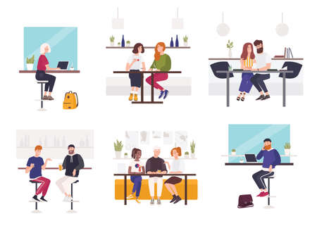 Set of men and women sitting at cafe or restaurant tables - working on laptop, talking to each other, drinking coffee or beer with friend. Male and female flat cartoon characters. Vector illustration Illustration