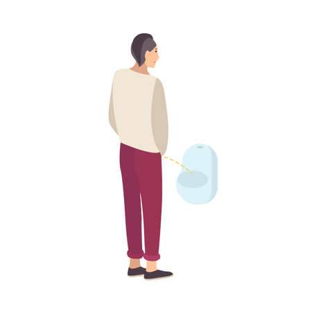 Young guy standing and peeing into urinal isolated on white background. Male flat cartoon character urinating in men s toilet, lavatory, loo, restroom or WC. Modern colorful vector illustration. Illustration