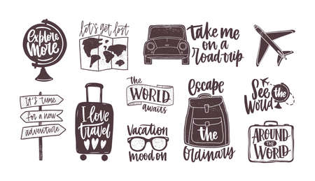 Bundle of handwritten motivational slogans decorated with tourism, travel and vacation elements