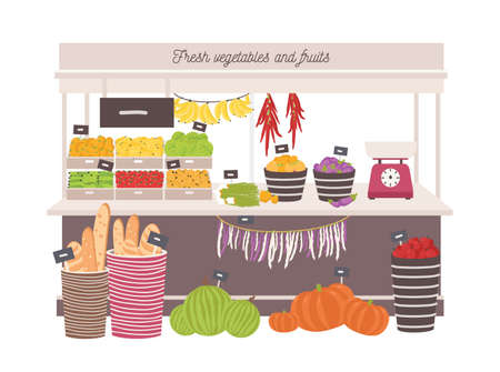 Green grocery shop with awning or marketplace with fresh fruits, vegetables, scales and price tags.