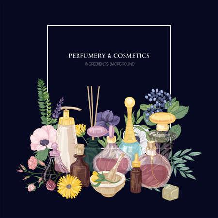 Telón de fondo cuadrado con perfume en botellas de vidrio decorativas de varias formas y tamaños, hermosas flores florecientes y lugar para texto sobre fondo azul oscuro.