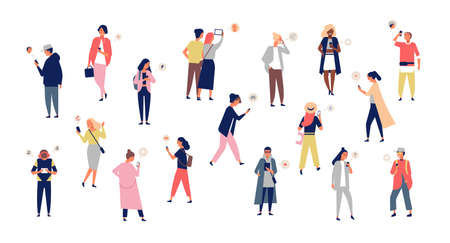Crowd of young men and women holding smartphones and texting, talking, listening to music, taking selfie. Group of male and female cartoon characters with mobile phones. Flat vector illustration.
