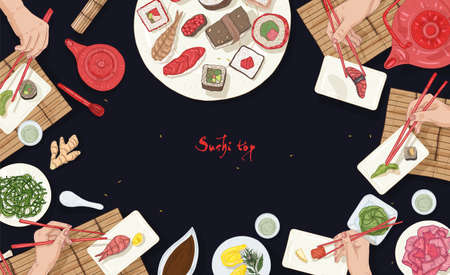 Horizontal banner template with Asian restaurant table