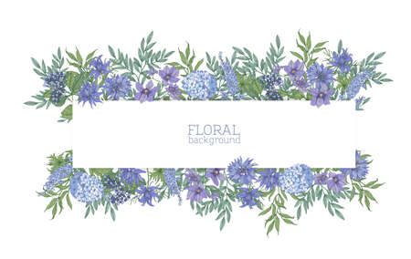 Horizontal background or banner surrounded by gorgeous blue wild blooming flowers and summer meadow flowering plants. Elegant floral backdrop. Colorful realistic natural vector illustration.