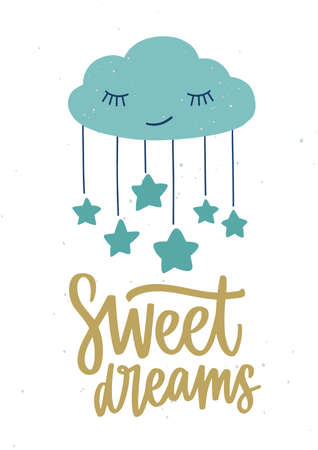 Poster template for childrens room with cute sleeping cartoon cloud with closed eyes, hanging stars and Sweet Dreams inscription handwritten with cursive calligraphic font. Vector illustration.