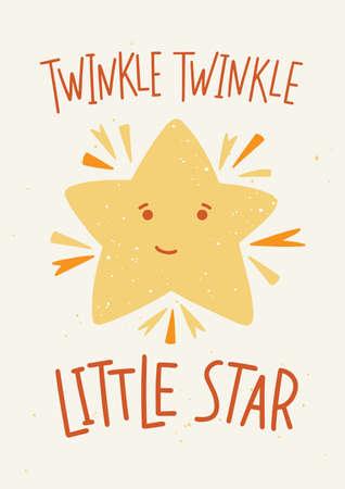 Kinderachtig poster sjabloon met Twinkle Twinkle Little Star belettering handgeschreven met elegante kalligrafische lettertype en schattige cartoon ster met lachend gezicht. Vector Illustratie