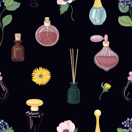 Seamless pattern with aromatic perfumes in glass decorative bottles or flasks, elegant blooming flowers on black background. Realistic vector illustration for wrapping paper, wallpaper, textile print