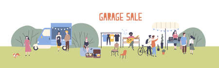 Horizontal web banner template for garage sale or outdoor festival with food van, men and women buying and selling goods at park. Flat cartoon colorful vector illustration for event advertisement. Illustration