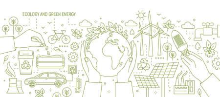 Banner monocromo con manos sosteniendo la tierra y bombilla rodeada de estaciones de energía solar y eólica, coche eléctrico, plantas Ilustración de vector de ecología y energía renovable en estilo de arte de línea.