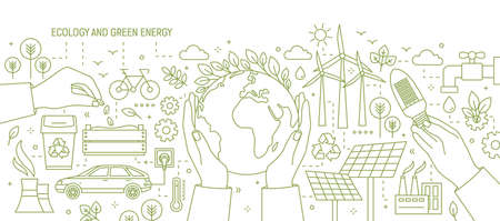 Monochrome banner with hands holding Earth and light bulb surrounded by wind and solar power stations, electric car, plants. Ecology and renewable energy vector illustration in line art style.
