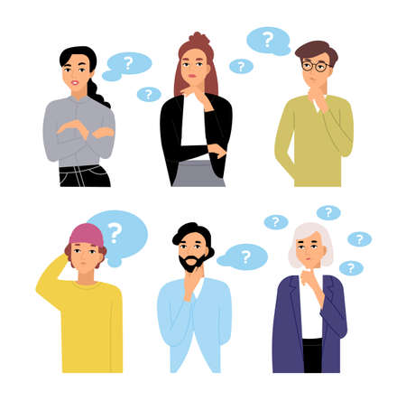 Bundle of thoughtful male and female cartoon characters and thought bubbles with question marks. Collection of portraits of men and women thinking isolated on white background. Vector illustration. Ilustração
