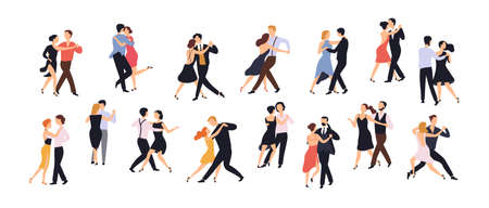 Collection of pairs of dancers isolated on white background. Men and women performing dance at school, studio, party. Male and female cartoon characters dancing tango at Milonga. Vector illustration.