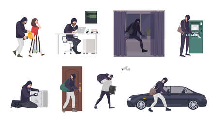 Collection of scenes with male thief or burglar wearing mask and black clothes stealing things from woman s handbag, ATM, safe box, car, apartment or house. Flat cartoon colorful vector illustration