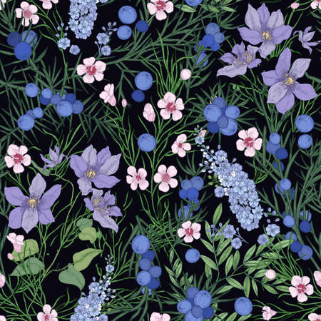 Floral seamless pattern with gorgeous blooming flowers and wild flowering herbs on black background. Natural backdrop with meadow wildflowers. Botanical vector illustration for textile print.