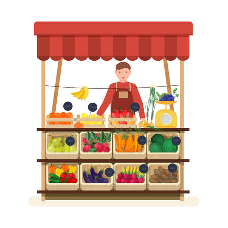 Man standing at counter of greengrocers shop or marketplace and selling fruits and vegetables. Male seller at place for selling food products on local farmers market. Flat vector illustration. Stock Illustratie