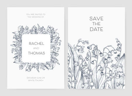 Set of wedding party invitation and Save The Date card templates with Lily of the valley flowers . Illustration