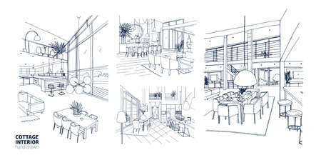 Collection of summer cottage interiors vector illustration set