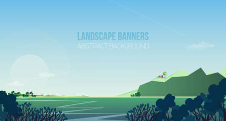 Horizontal banner with gorgeous riverside landscape or scenery.