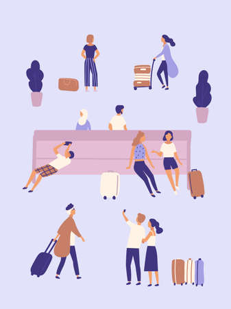 Men and women with suitcases waiting at airport or bus station. Group of people or passengers with luggage sitting on bench, taking selfie photo, standing, walking. Flat cartoon vector illustration. Ilustração