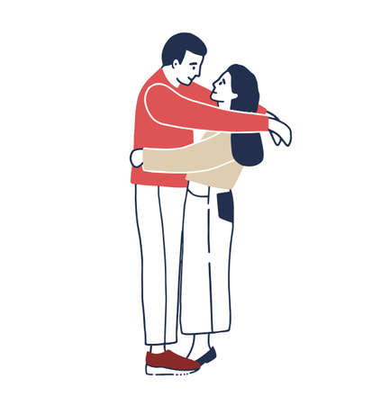 Young man and woman standing face to face and hugging. boyfriend and girlfriend cuddling. Funny male and female cartoon characters in love. Romantic partners on date. Colored vector illustration. Illustration