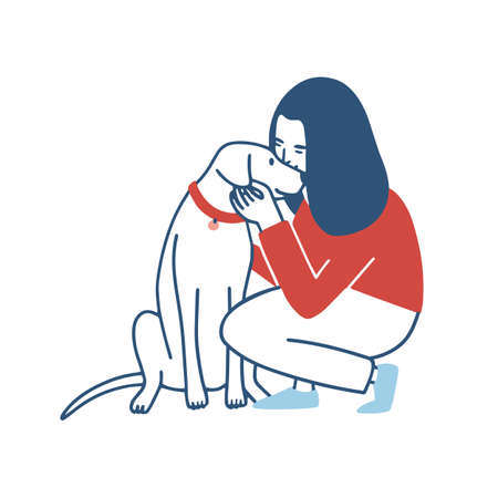 Young woman squatted down, hugs and kisses her dog. Funny girl embracing her domestic animal. Happy female cartoon character cuddling with her pet isolated on white background. Vector illustration. Stock Illustratie