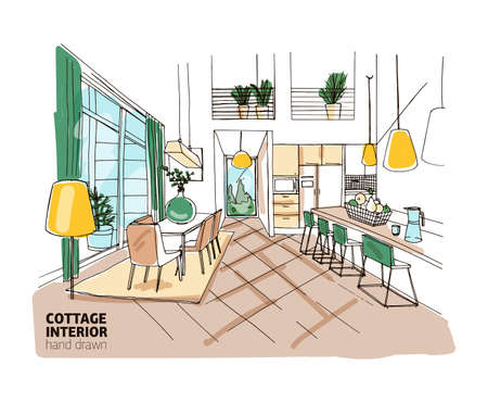 Colorful freehand sketch of mansion or summer cottage interior with stylish cozy furniture and home decorations. Hand drawn kitchen and dining room with table, chairs, lamps. Vector illustration. Stock Illustratie