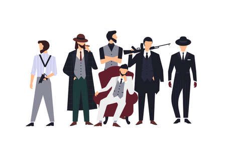 Group of mafia members or mafiosi dressed in elegant retro clothes or formal suits and holding fire guns. Flat male cartoon characters isolated on white background. Colorful vector illustration. Illustration