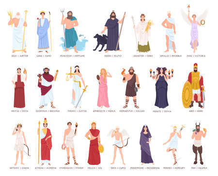 Collection gods and goddesses from Greek and Roman mythology, mythological creatures. Male and female cartoon characters isolated on white background. Flat colorful vector illustration.