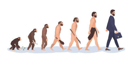 Human evolution stages. Evolutionary process and gradual development visualization from monkey or primate to businessman dressed in suit carrying briefcase. Flat cartoon colorful vector illustration.