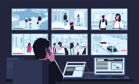 Security service worker sitting in dark control room in front of monitors displaying video from surveillance cameras, watching and talking on phone. Back view. Flat cartoon vector illustration.