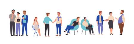 Men and women dressed in smart clothes take part in business meeting, formal discussion, conference. Male and female cartoon characters talk to each other, exchange information. Vector illustration Vektoros illusztráció