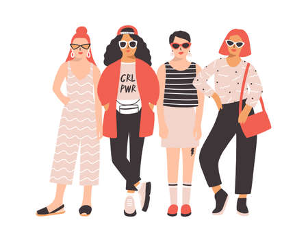 Four young women or girls dressed in trendy clothes standing together. Group of friends or feminist activists. Female cartoon characters isolated on white background. Flat colored vector illustration