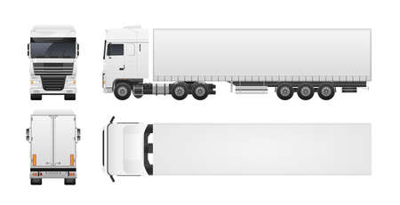 Modern truck or lorry isolated on white background. Front, back, top and side views. Commercial road vehicle, automobile shipping or delivery, cargo transportation. Realistic vector illustration. Vectores