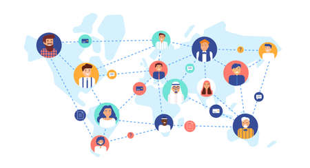 Round portraits of smiling people connected with each other on world map. International business team, global professional network, multinational company. Flat cartoon colorful vector illustration