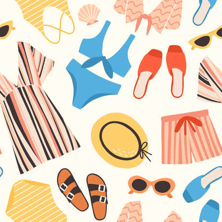 514c93d41b1 Seamless pattern with summer clothes and accessories on white background -  sunglasses