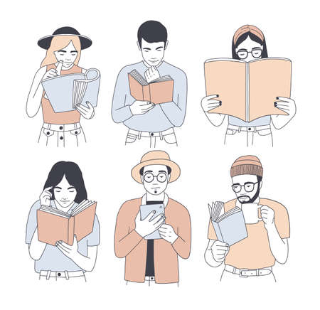 Collection de portraits d'hommes et de femmes lisant du papier et des livres électroniques isolés sur fond blanc. Ensemble de jeunes lecteurs masculins et féminins vêtus de vêtements à la mode. Illustration vectorielle de dessin animé.